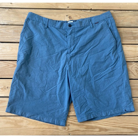 HURLEY Men's Blue Flat Front Chino Shorts Size 38